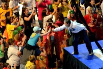 February 18, 2011 Emily on Tom's shoulders as we took our stage time at THON.
